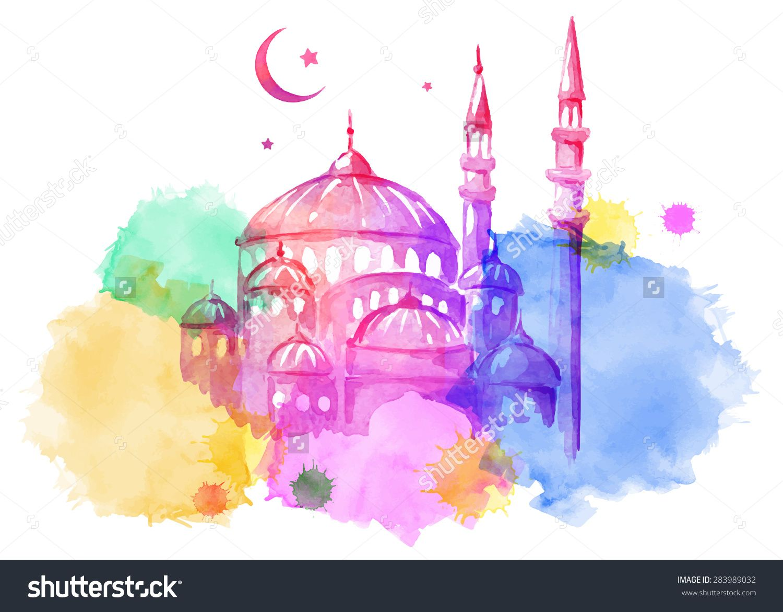 Ramadan Kareem Mosque Night Bright Watercolor Stains