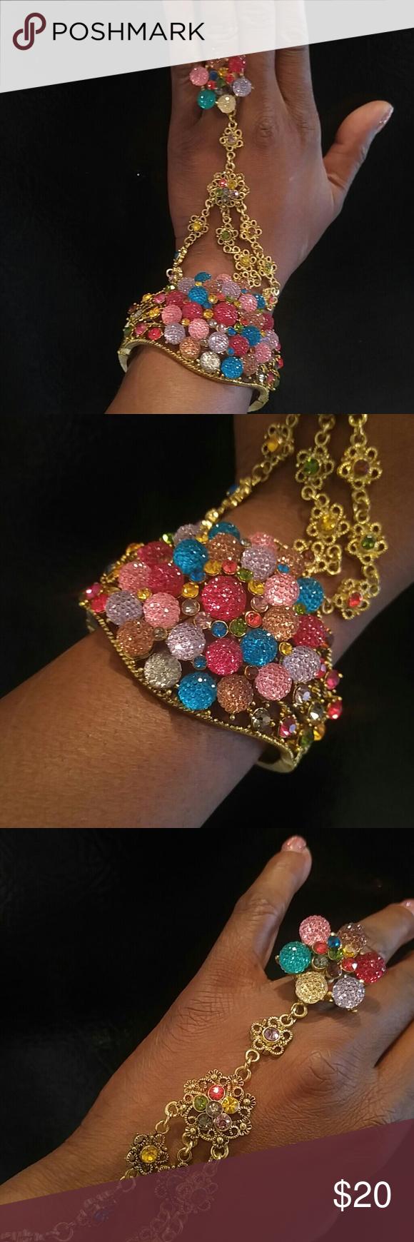 Sparkling Gumball Slave Ring Bracelet Sparkling Rhinestone Gumball Slave Ring Bracelet Beautiful Colors Gold Tone Metal Hinge Open Bracelet Adjustable Ring Stunning Condition and Sparkle ! Jewelry Bracelets