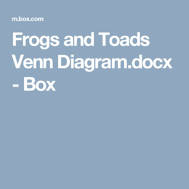 Frogs And Toads Venn Diagram Docx