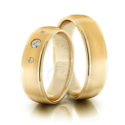 10k Yellow Gold Satin Flat His And Hers Wedding Rings 6mm 02180