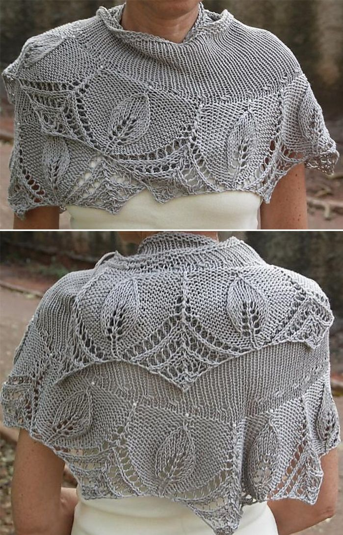 Free Knitting Pattern For Silver Leaves Shawlette Lace Edged Shawl