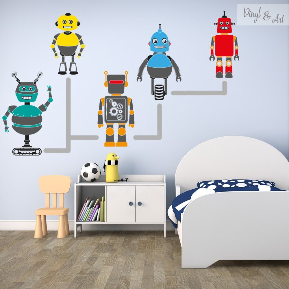 Vinilo Adhesivo Decorativo Infantil Robots Divertidos Y