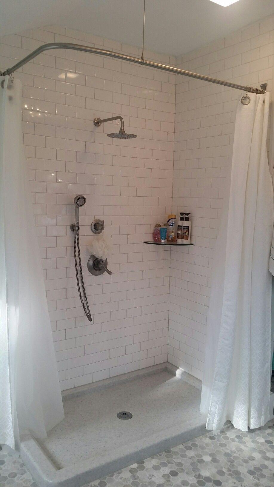 L Shaped Shower Curtain Rod White Subway Tile Master Bathroom