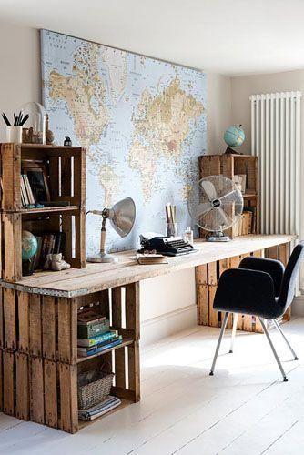 Escritorio huacales muebles pinterest escritorios for Muebles escritorio para casa