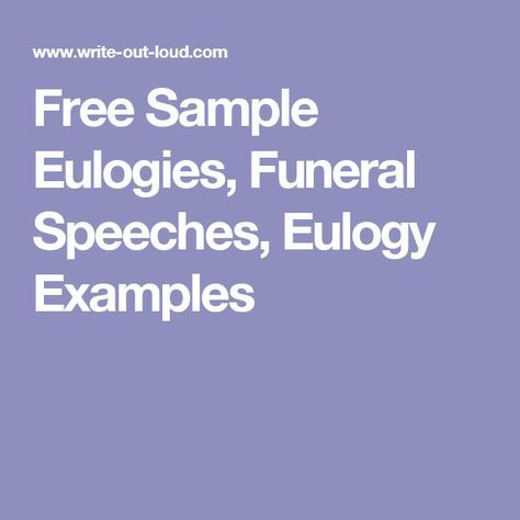 how to write a eulogy examples