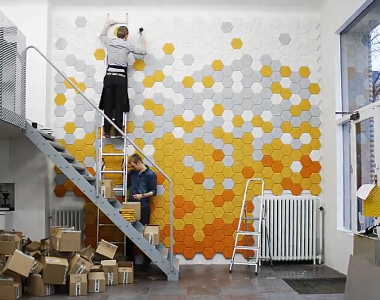 hexagonal acoustic panels a great way to add colour into on acoustic wall panels id=15968