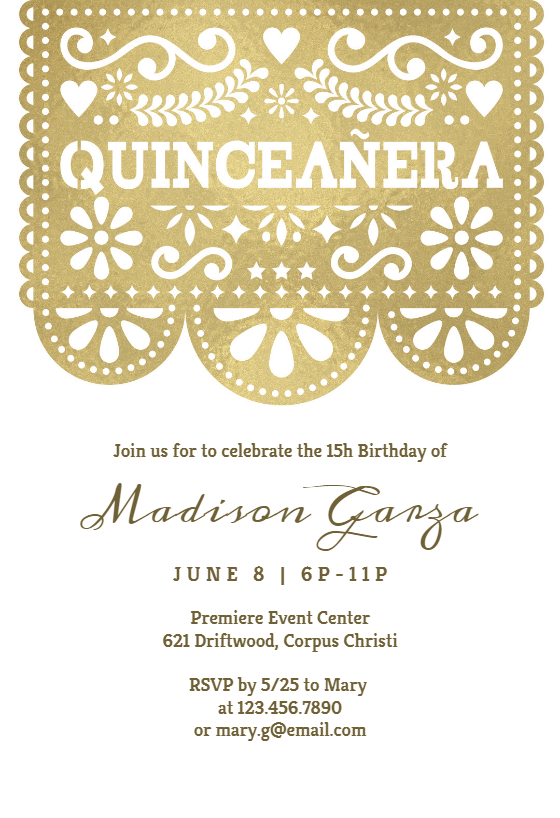 Customize Stenciled Lace Quinceanera Invitation Add Text And