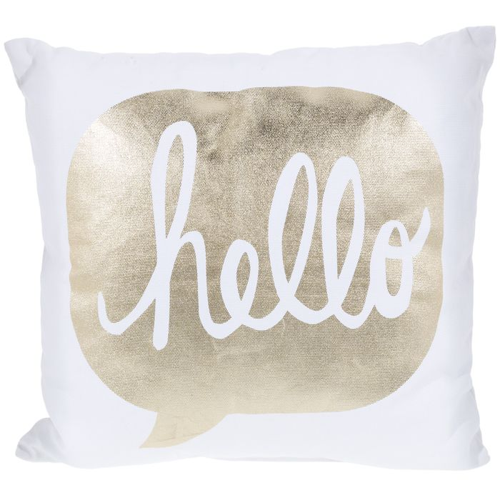 White Gold Hello Pillow Pillows Gold Pillows Girls Pillows