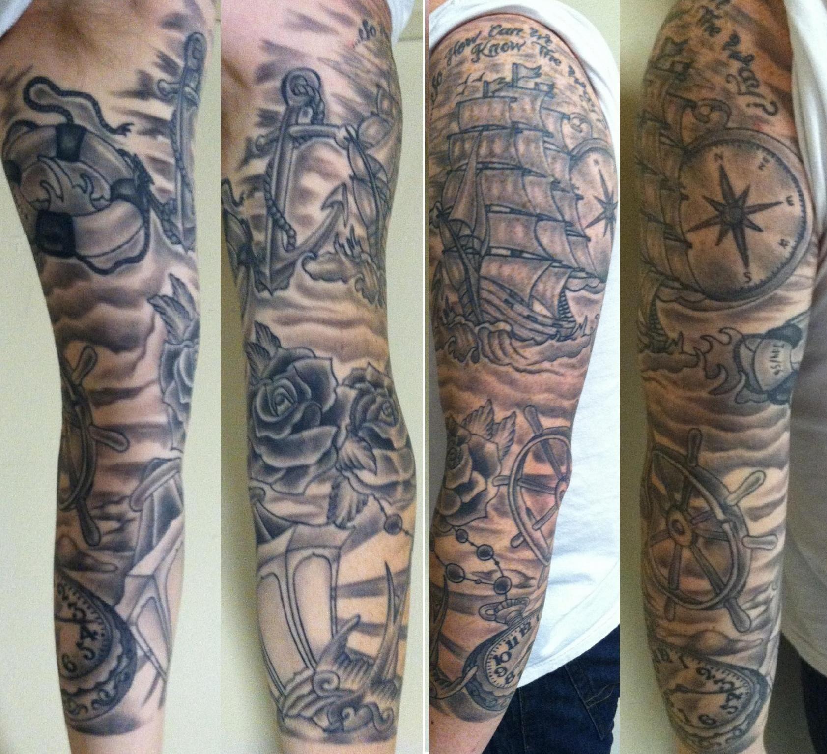 Black Grey Sleeve Tattoo Ideas: Black & Gray Sleeve By John Schmidt At Tattoo 42 (Portland