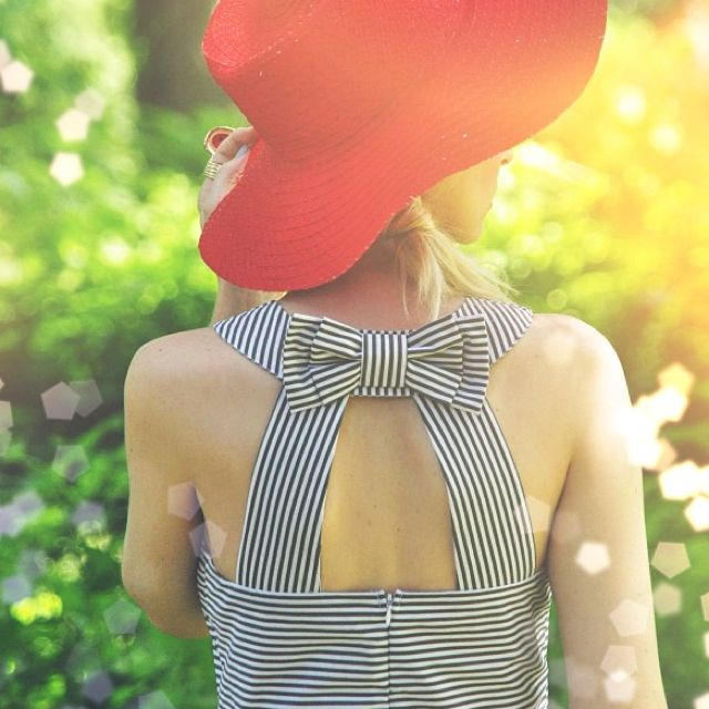 Striped openback bow dress #instagram