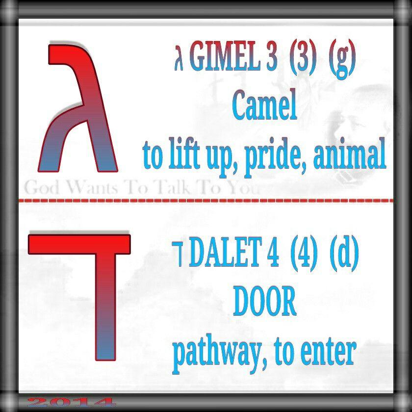 ג GIMEL 3  (3)  (g) Camel to lift up, pride, animal   ד DALET 4  (4)  (d) DOOR pathway, to enter