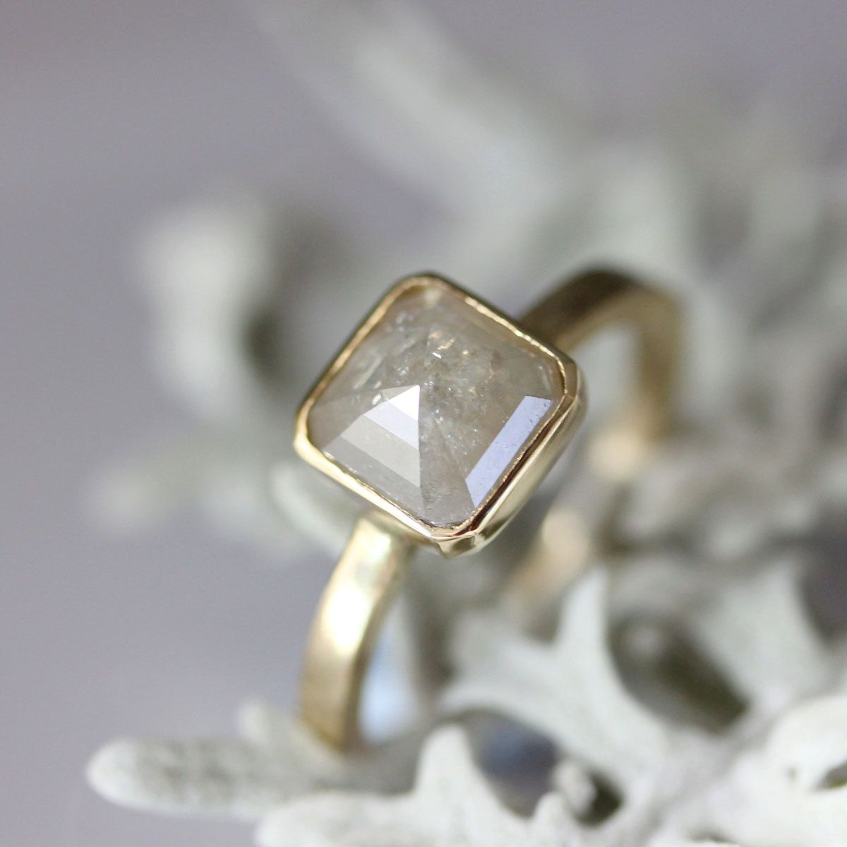 Rose Cut White Gray Asscher Cut Diamond In 14K Yellow Gold Engagement Ring - Ready To Ship. $1,150.00, via Etsy.