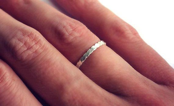 Anello in argento Sterling torsione impilamento anello-midi, impilabile anello, appiattito anello di filo di torsione