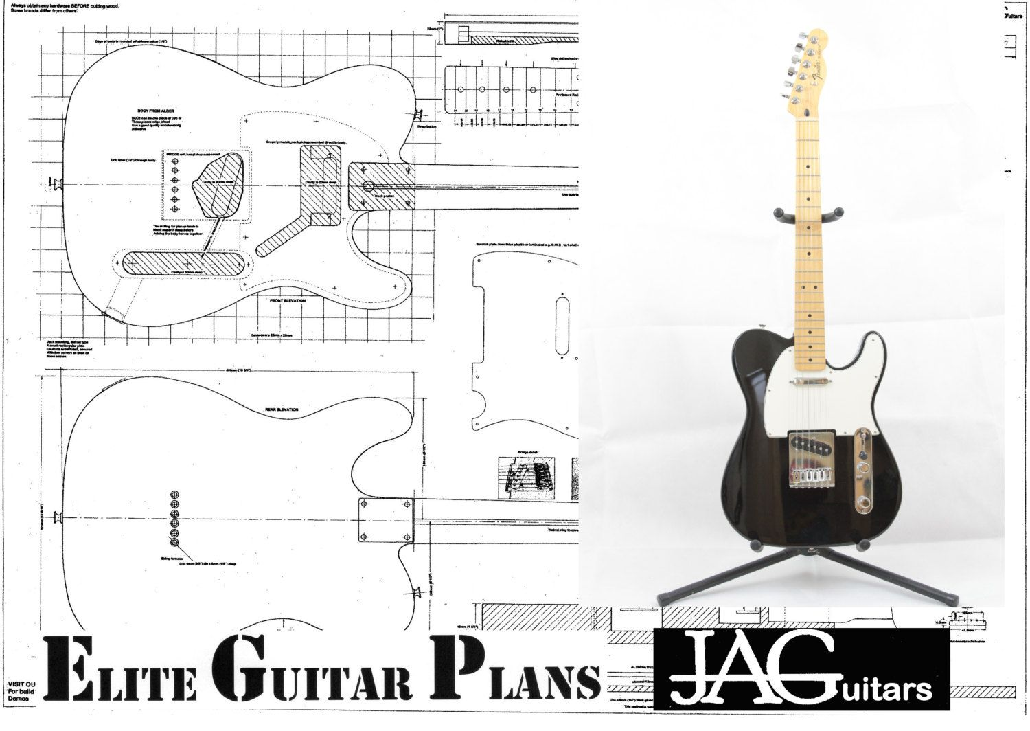 Rolled Plan To Build Telecaster Electric Guitar Diy Project Or Electrical Schematic And Blueprint Reading Course Syllabus Full Size A