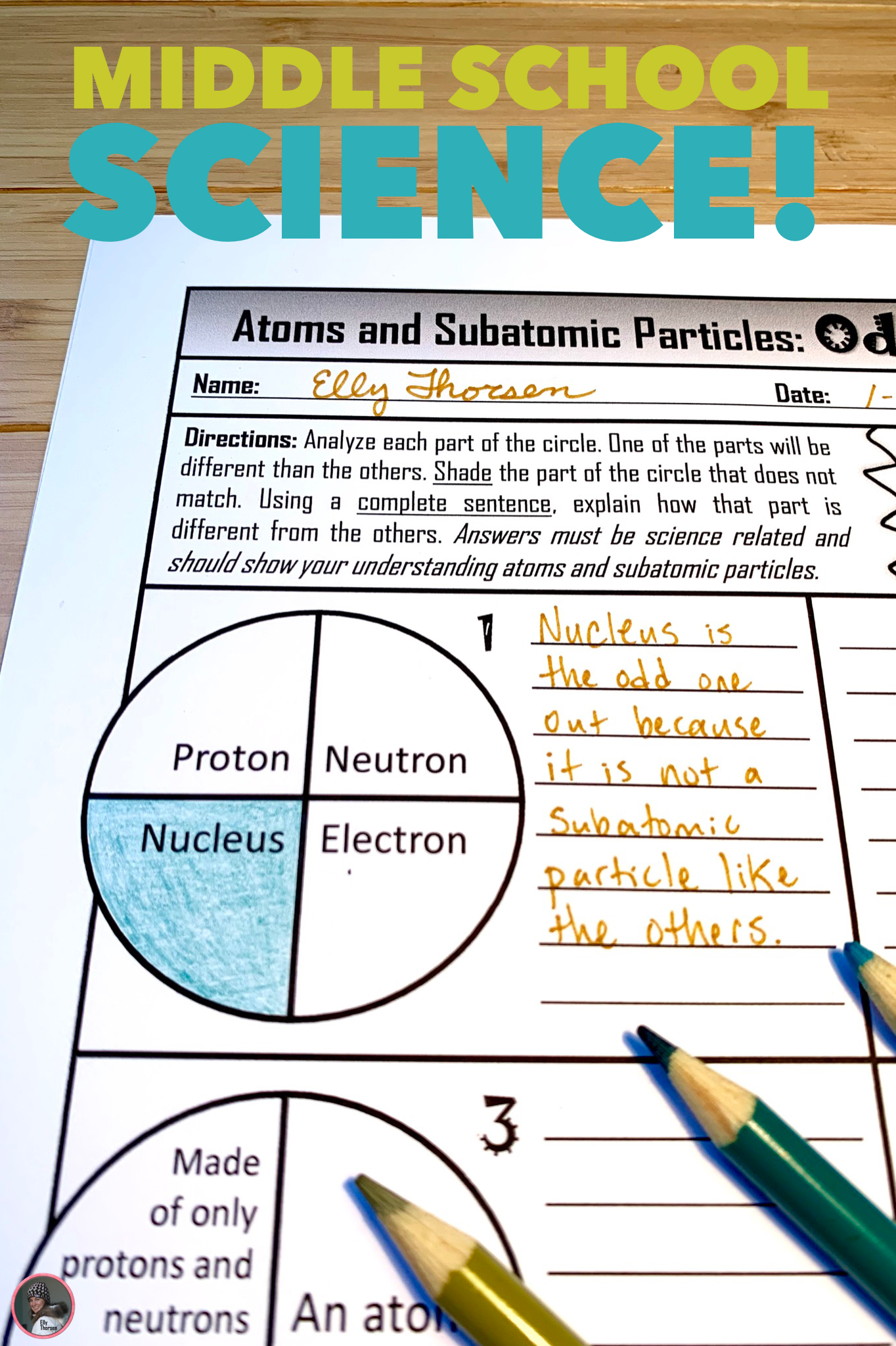 hight resolution of Atoms and Subatomic Particles Critical Thinking Worksheet for Middle School  Physical Science in 2020   Physical science middle school