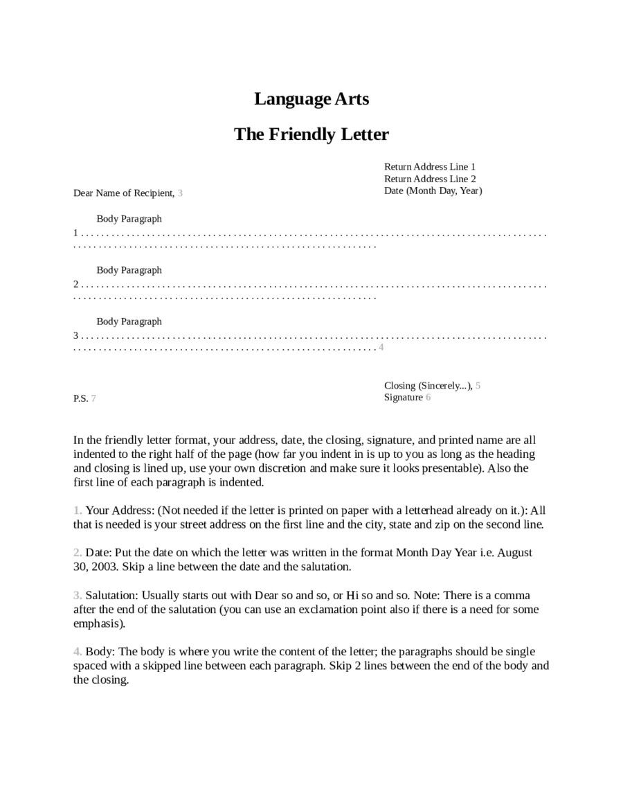Friendly Letter Format Friendly Letter Template Friendly Letter Letter Templates