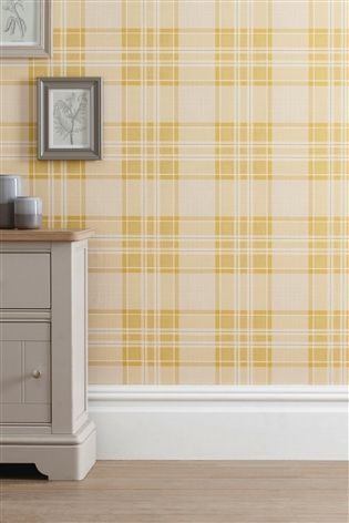 Buy Ochre Astley Check Wallpaper from the Next UK online shop ...