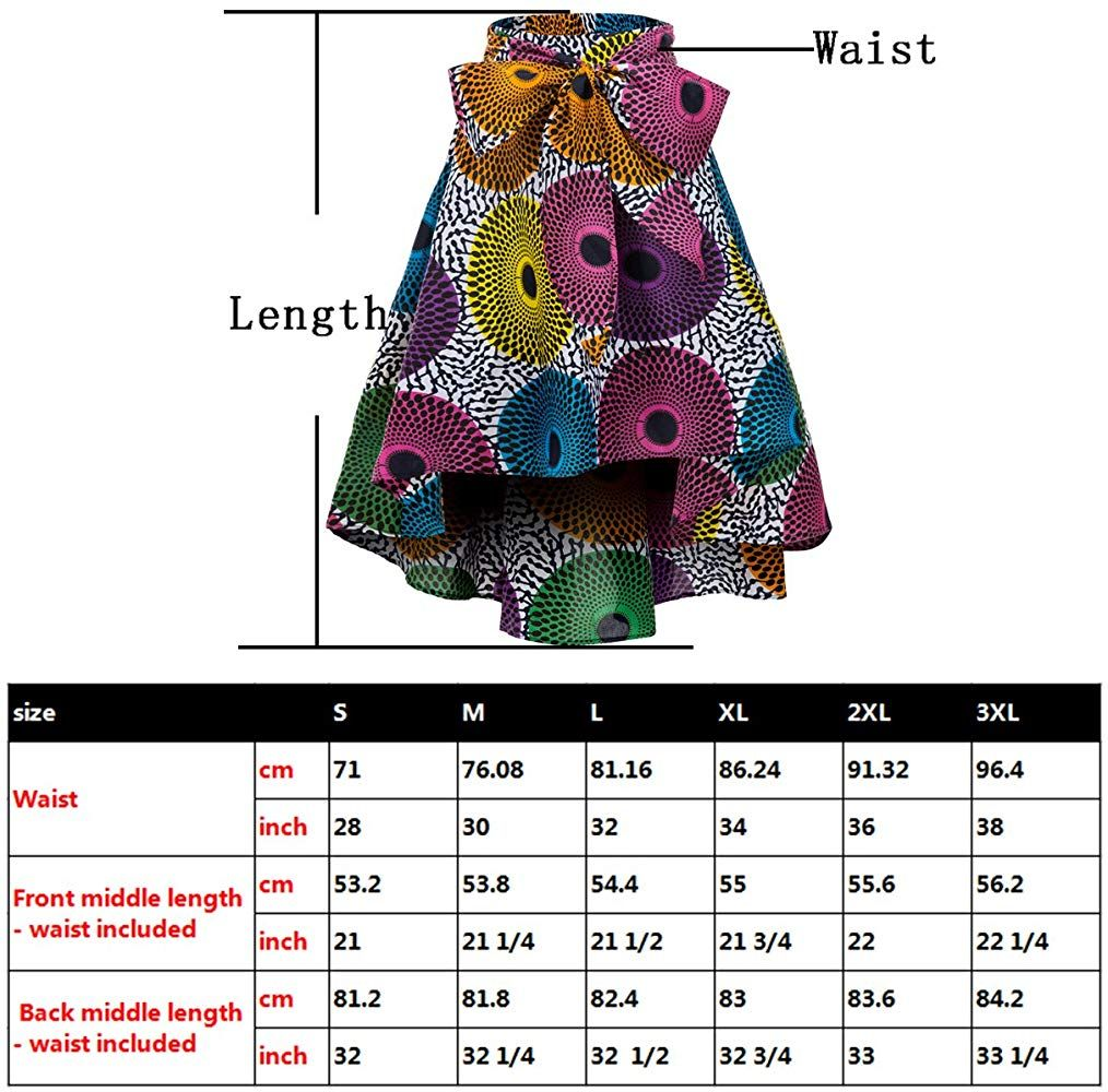 Shenbolen Women African Traditional Costume Flower Print Casual Dashiki Skirt