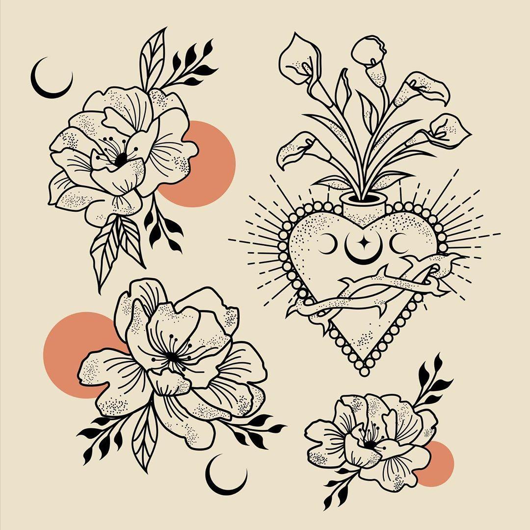 Calla Lily Sacred Heart & Peonies #flashsheet . . . . . . #callalilytattoo #sacredhearttattoo #sacredheart #lineart #spiritualtattoo #femaleillustrator #spiritgangster #occultart #witchyways #artsofvisuals #distressedunrest #blackworknowillustrations #fullmoonritual #naturedrawing #slowrostedco #moonmysticgoddess #tattoosociety #illustrationoftheday #artcollective #peonytattoo
