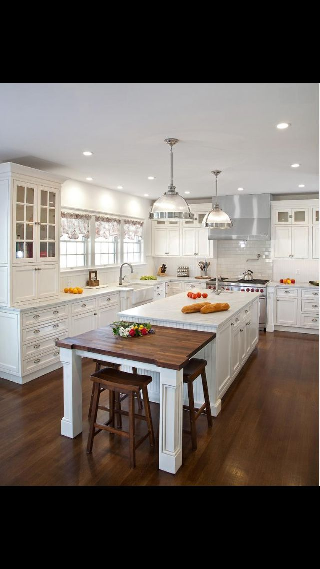 Love This White Kitchen And A Wood Table At The End Of The Island Kitchen Design Small Kitchen Design Kitchen Designs Layout
