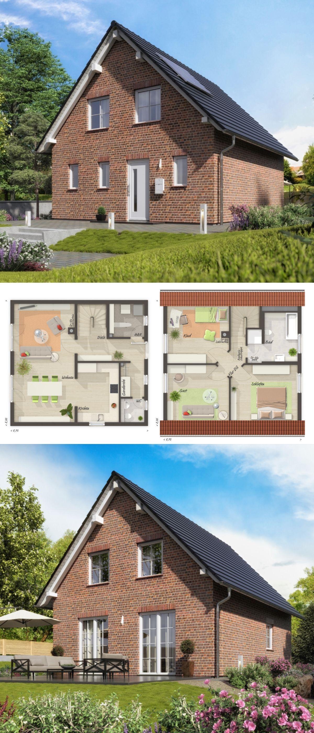 Haus flur design-ideen modernes einfamilienhaus grundriss mit satteldach architektur