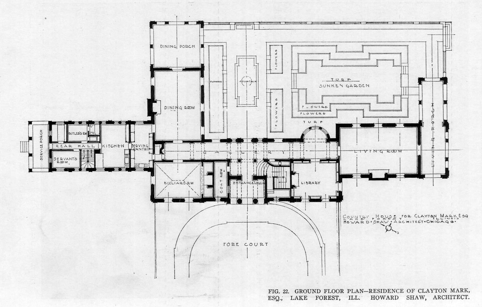 Ground Floor plan of the Clayton Mark, Esq., Residence, Lake Forest ...