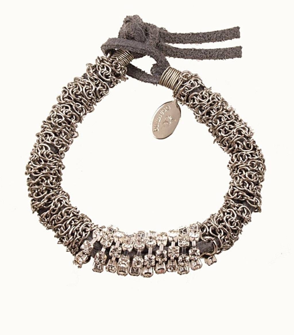 Thick Rhinestone Suede Roll Bracelet - Grey -  gift, birthday gift, unique jewelry,