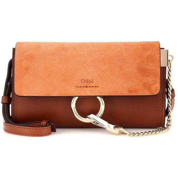 a7653b89898a Chloé Faye Mini Leather and Suede Shoulder Bag (€860) ❤ liked on Polyvore  featuring bags