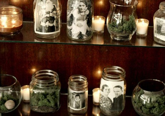old jars filled with moss or copies of your favorite vintage photos