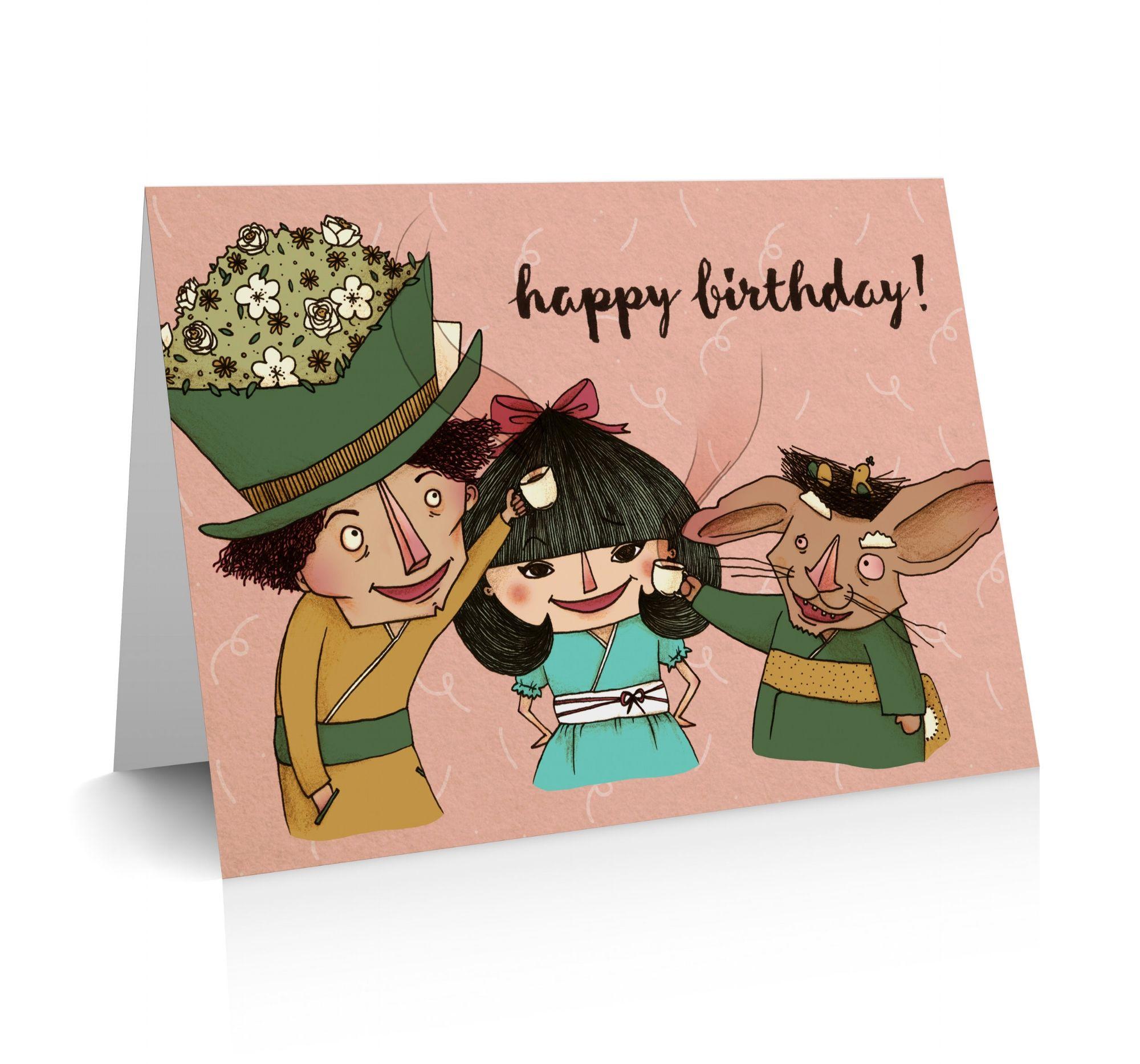 Japanese Alice In Wonderland Happy Birthday Greeting Card By Emmi