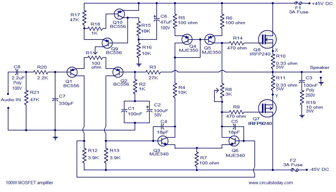 Simple High Watt Fet Amplifier Circuit Diagram - Wiring