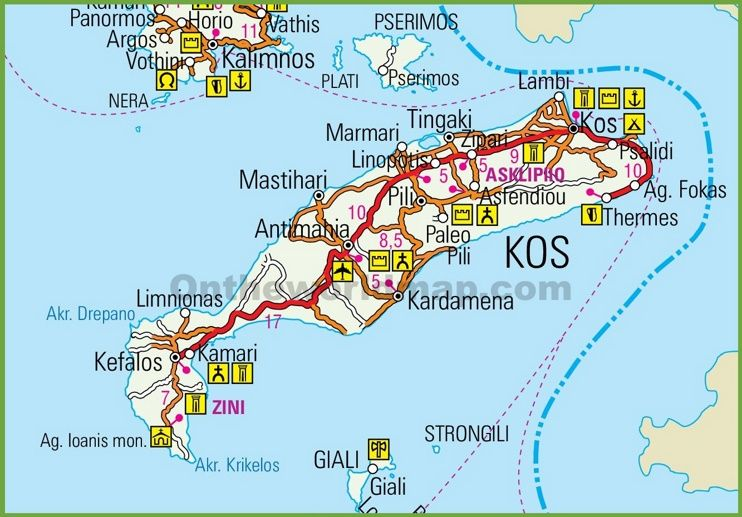Kos road map | Greece, Dodecanese Islands | Kos, Greek ...