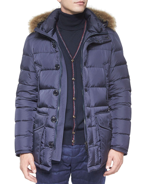 3d7b1bac1 Cluny Nylon Puffer Jacket with Fur Hood, Navy, Size: XXL/6 - Moncler ...