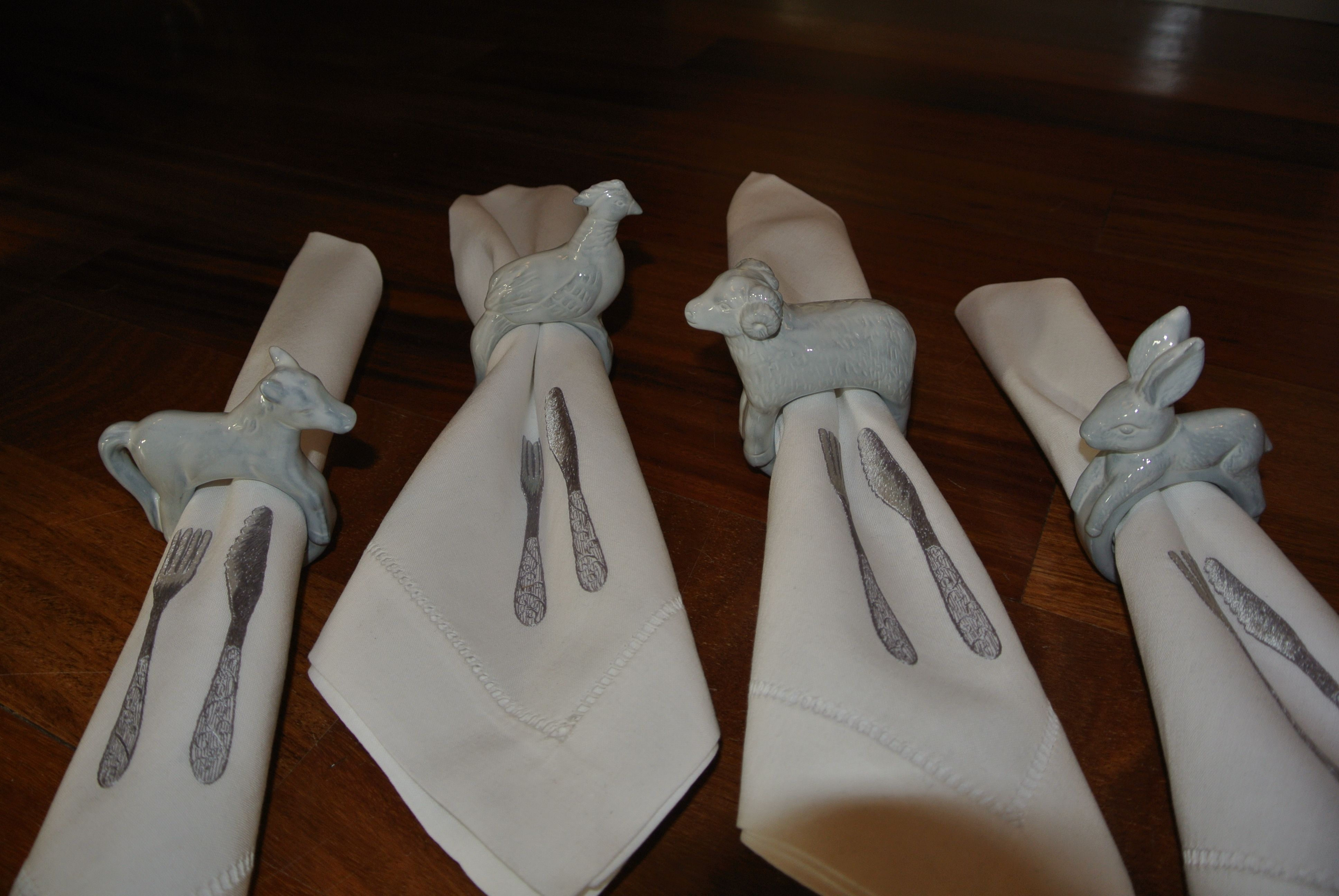"""Hand-Painted Grey Animal Porcelain Napkin Rings .... $75 / set of 4  ///  Coordinated with the same finish on the Hand-Painted """"Stacked Bird"""" Candleholder set of 2 posted prior on the Board"""