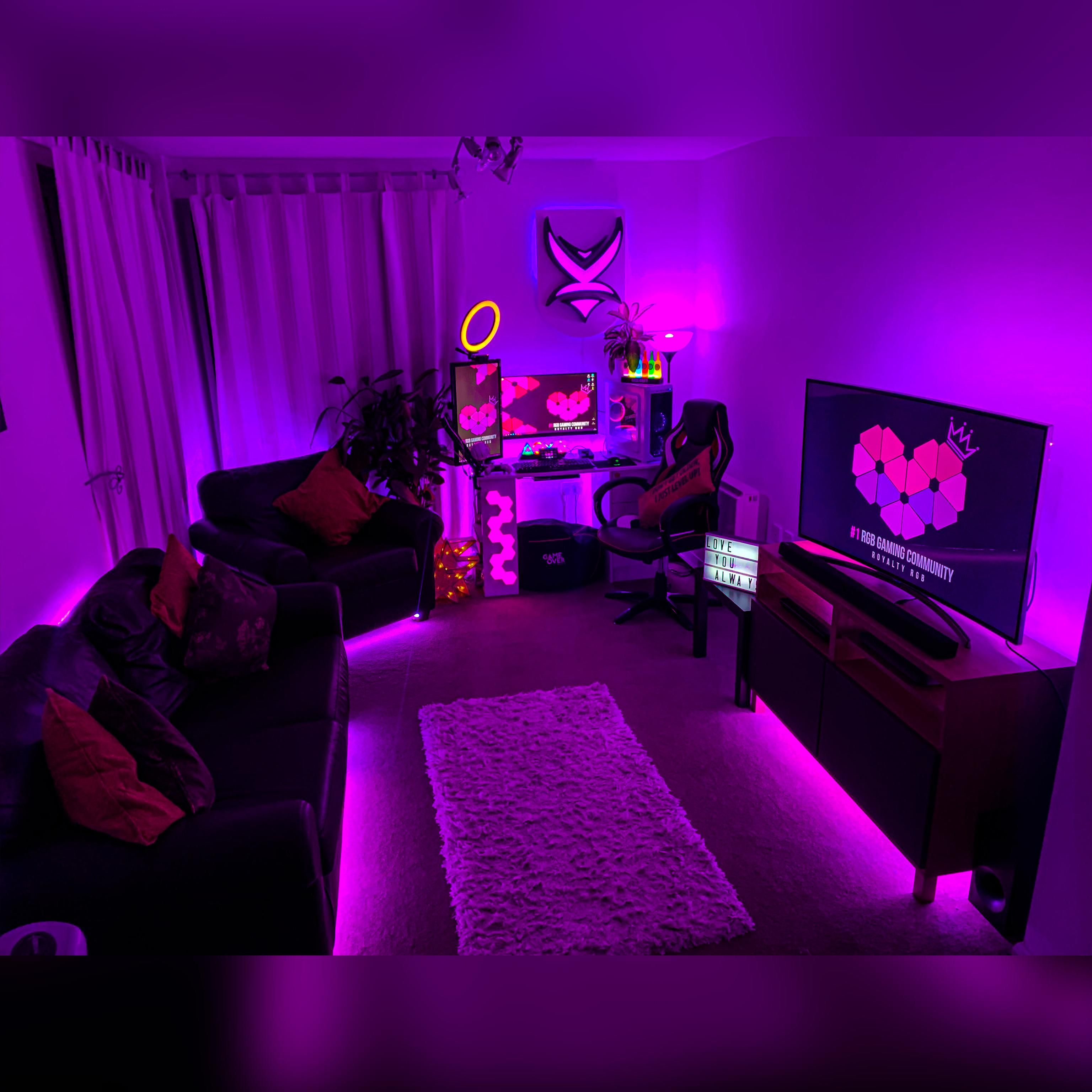 Went All Out With The Purple Game Room Design Gamer Room Decor Room Design Bedroom