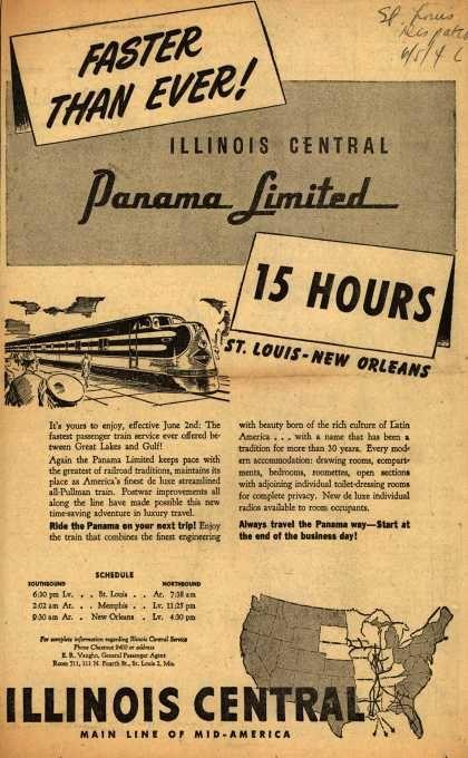 Illinois Central Railroads The Panama Limited Faster Than Ever Illinois Central Panama Limited