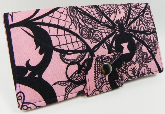 After dark  PINK  Handmade Long Wallet  BiFold by faithonearth, $37.00
