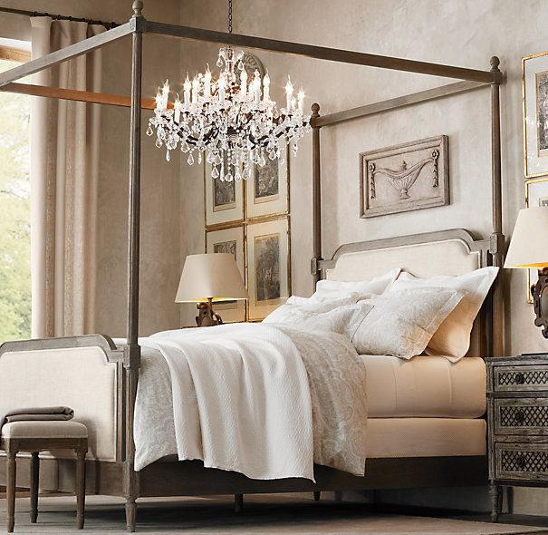 Hmmm A Refined Canopy With Very Light D Just At The Four Corners Fun Chandelier Hanging Over Bed