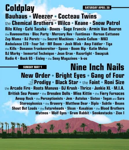 Cocteau Twins were supposed to play a gig during the edtion 2005 of Coachella music festival, this poster is the only real memento of that   ocassion that could never be.