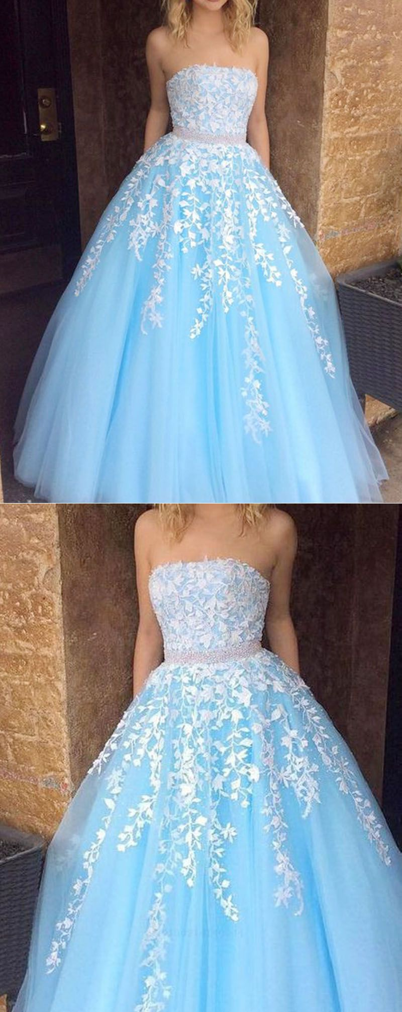 Sweet Baby Blue Strapsless Lace Tulle Girls Senior Prom ...