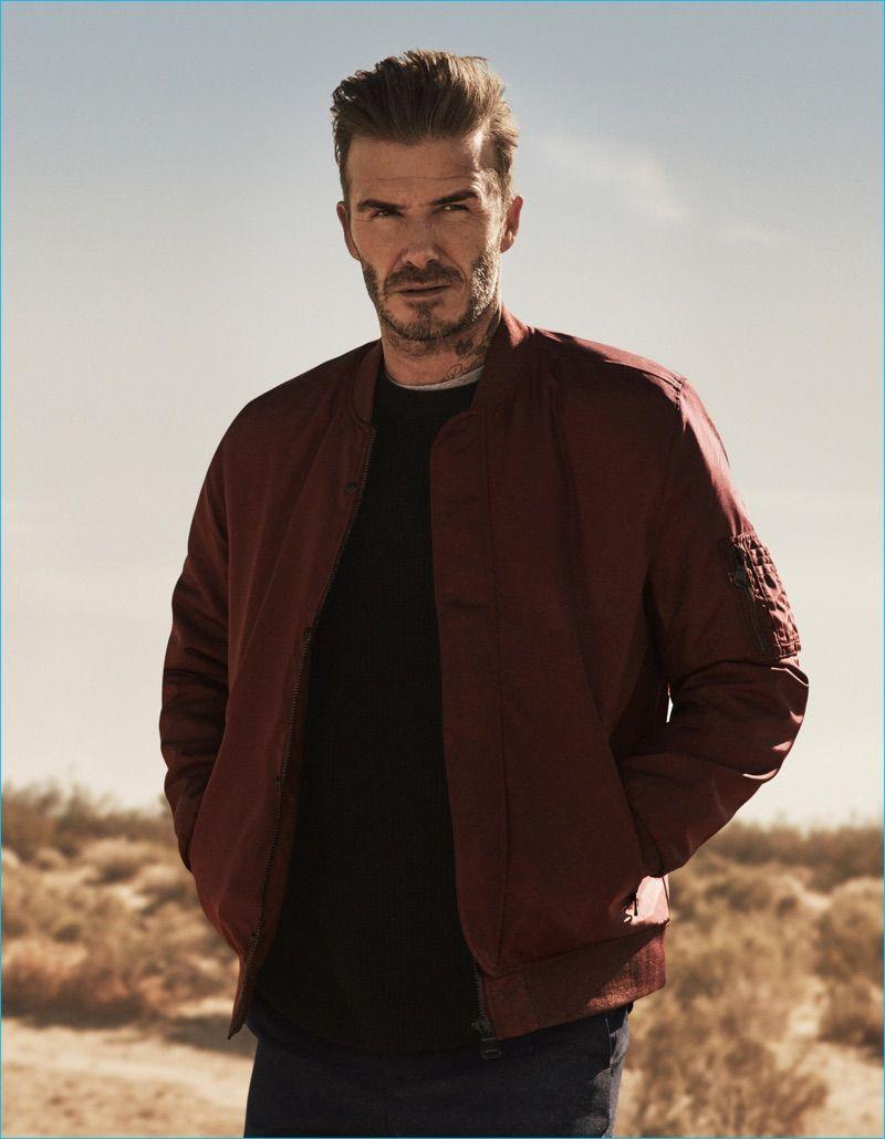 99964a146a David Beckham sports a burgundy bomber jacket for H M s fall-winter 2016…