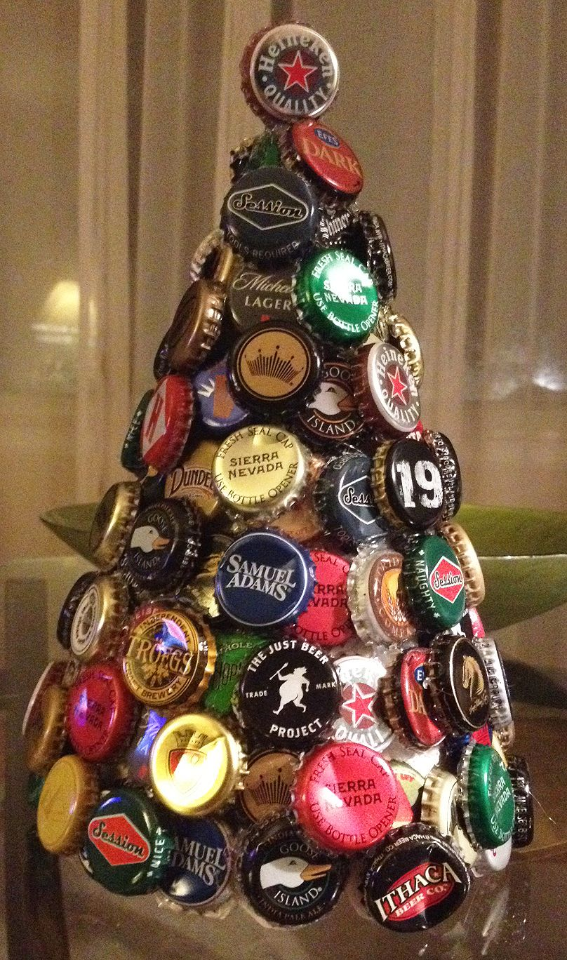 Bottle cap tree I made. You can buy a foam cone to use as ...