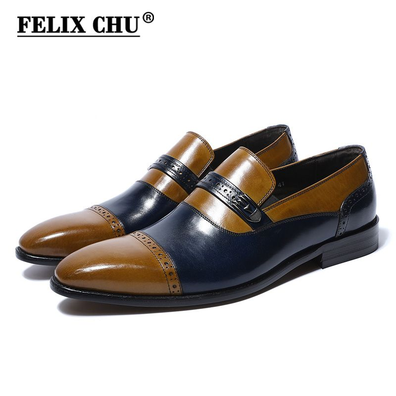 d53e00f3b67 FELIX CHU 2018 Luxury Fashion Genuine Leather Men Slip On Dress Shoes  Wedding Party Office Blue Brown Formal Mens Footwear-in Formal Shoes from  Shoes on ...