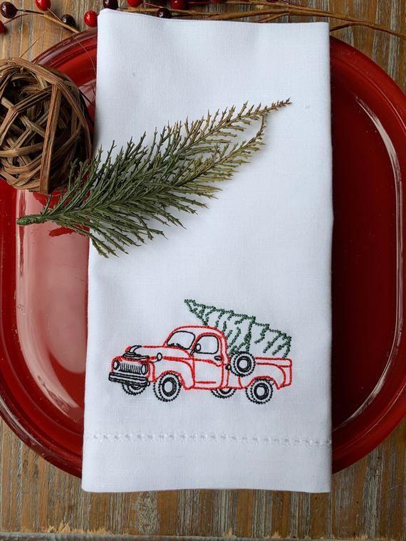 Christmas Truck Cloth Dinner Napkins, Custom, Christmas tree napkins, Christmas Napkins, Christmas tree cloth napkins, country christmas #clothnapkins