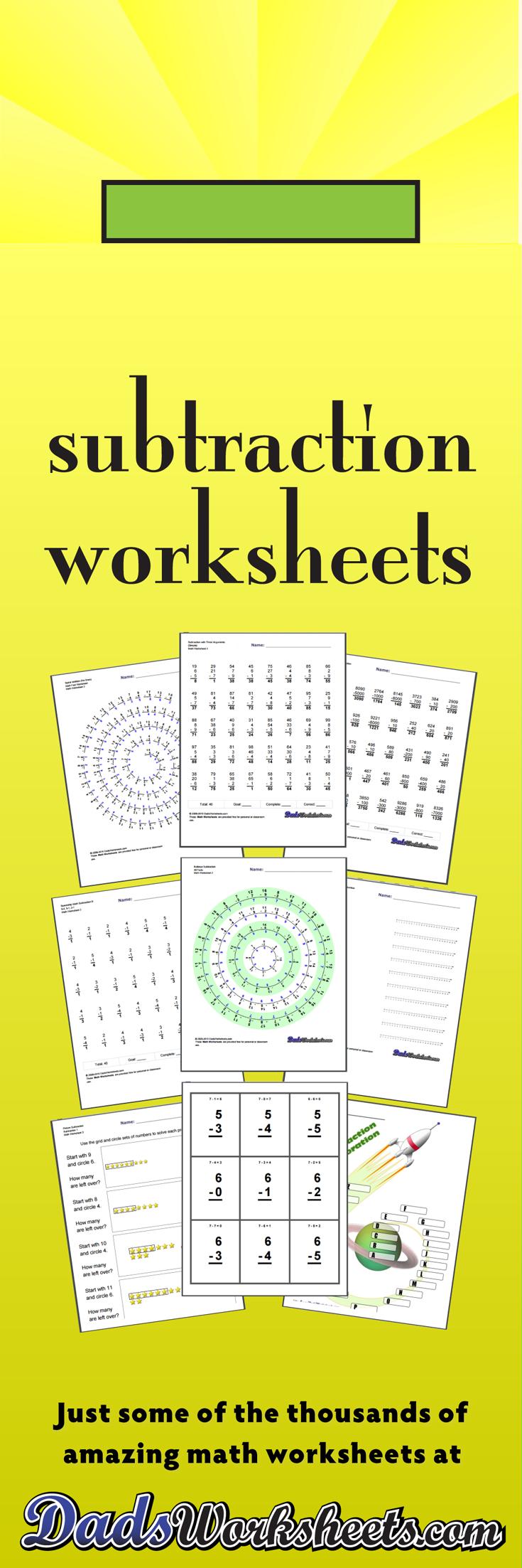 Subtraction Worksheets Subtraction Worksheets Subtraction Facts Worksheet Teaching Subtraction [ 2205 x 735 Pixel ]