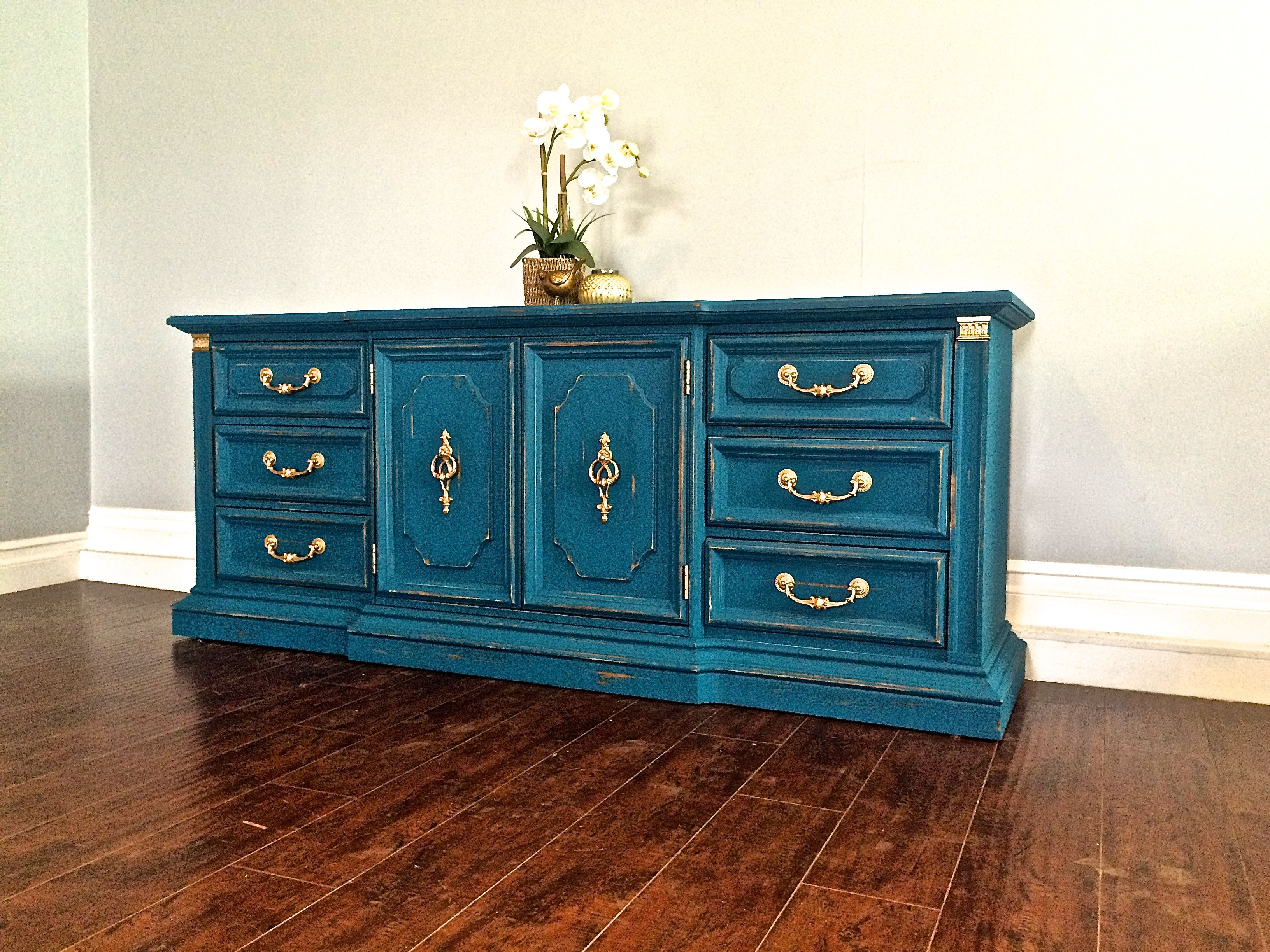 Blue shabby chic furniture - Shabby Chic Peacock Blue Gold Leaf 9 Drawer Dresser 450 Sold