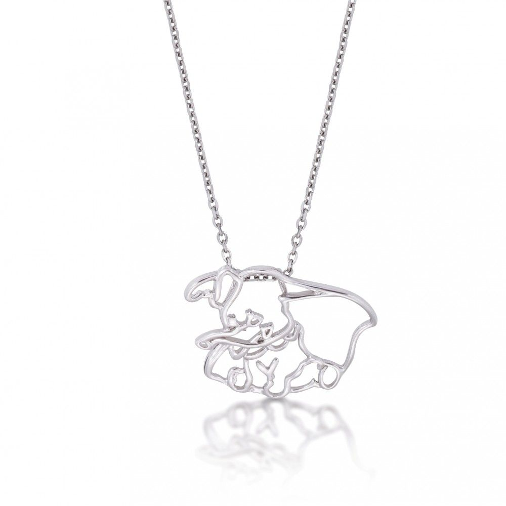 Disney Couture White Gold-Plated Mickey Mouse Outline Character Necklace rhYhfPXYF