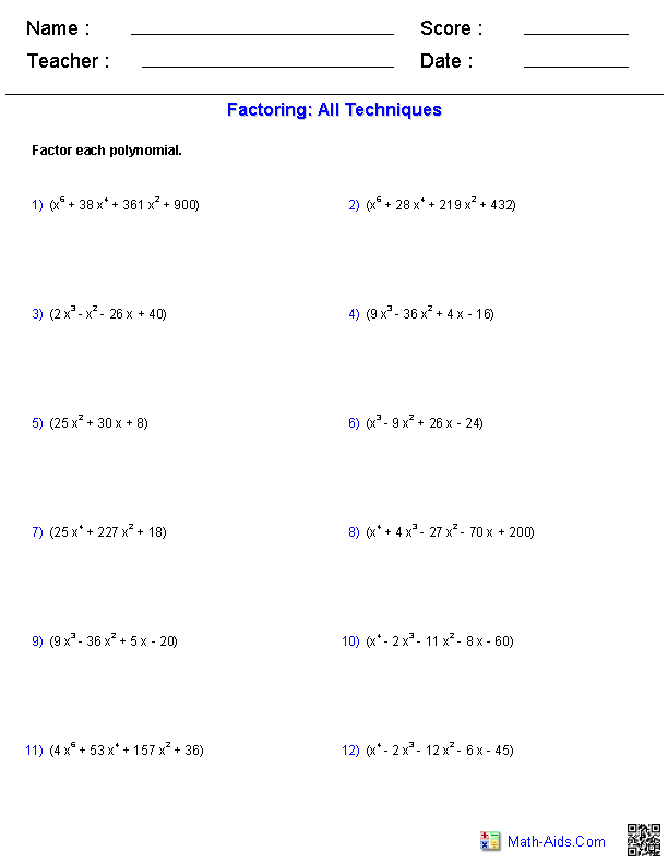 Worksheet On All Types Of Factoring - Stay At Hand