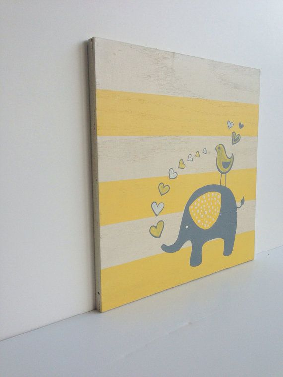 Hand painted Yellow and Gray Elephant Nursery Decor, Gray and Yellow ...