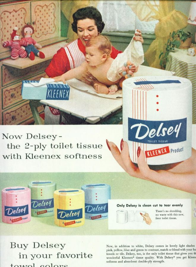 Delsey Toilet Paper In Colors Ad Pretty Mom 1955 Vintage Toilet